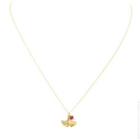 Gold platted ginkgo biloba necklace