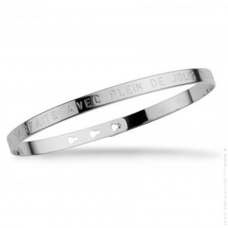 Bracelet Je suis parfaite avec plein de jolis défauts plaqué argent