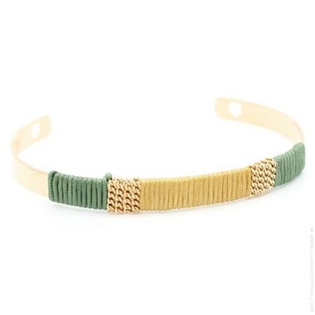 Bracelet tissé beige et vert Sophie Deschamps