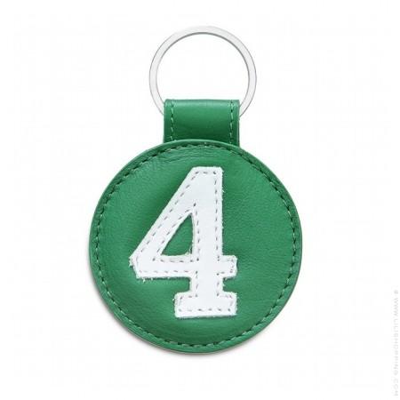 Porte clé en cuir n°4 blanc et vert
