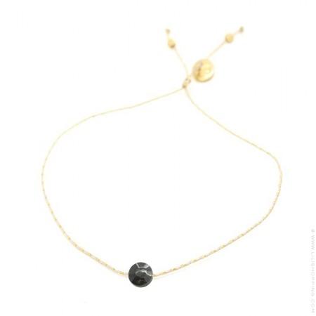 Black tourmaline on a lurex Bracelet