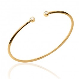 Gold platted bangle with 2 white zirconium