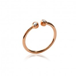 Pink gold platted ring with 2 white zirconium