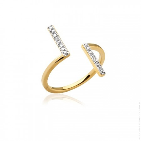 Gold platted ring with 2 white zirconium bars