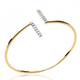 Gold platted bangle with 2 white zirconium bars
