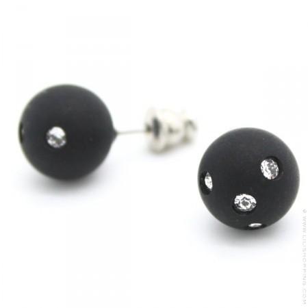 Black strassed Zoe Bonbon resin earrings