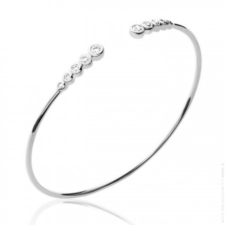 Sterling silver bangle with 10 white zirconium