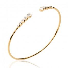 Gold platted bangle with 10 white zirconium
