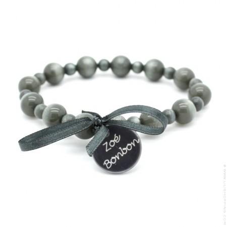 Bracelet Gabrielle nacré gris foncé