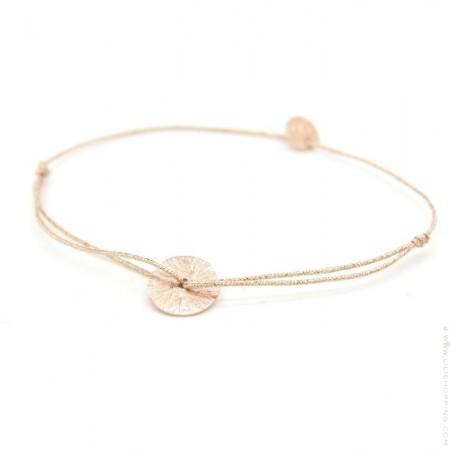 Bracelet lurex et disque plaqué or rose brossé