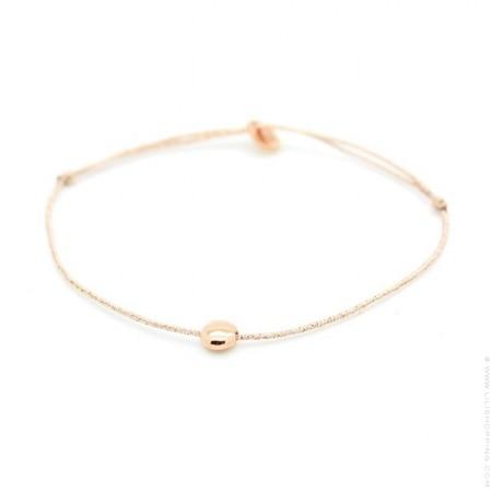 Bracelet lurex et galet plaqué or rose