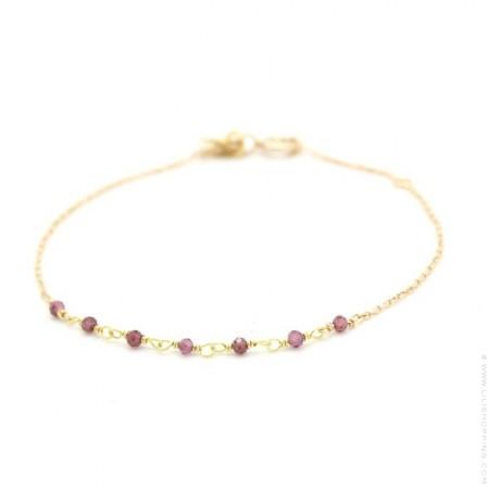 Bracelet Jaipur plaqué or et 7 améthystes