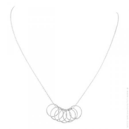 Collier 7 anneaux sur chaine argent