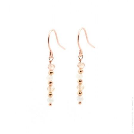 Boucles d'oreilles Léa zircon plaquées or rose