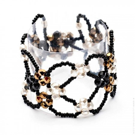 Black crystal and beads cuff