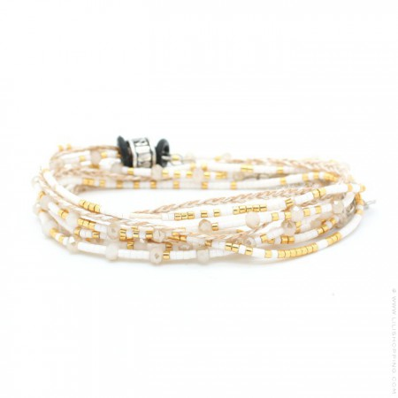 Gold and white multitour beads and cristals bracelet