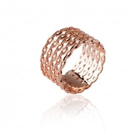 Bague chaines large plaquée or rose