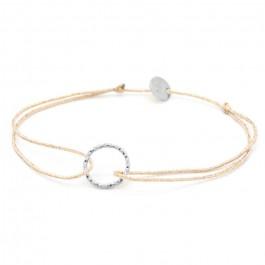 Bracelet lurex et anneau martelé en argent