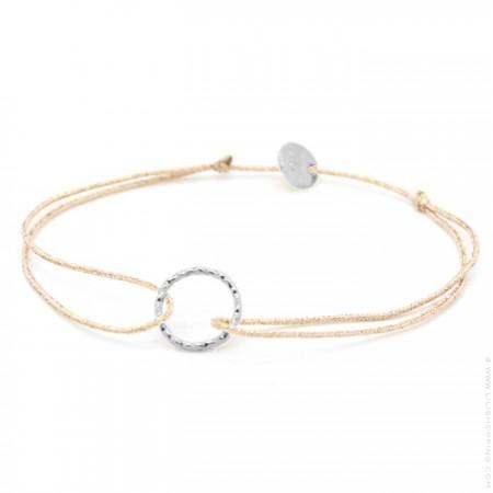 Silver hammered ring on a lurex Bracelet