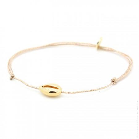 Bracelet lurex et cauri plaqué or