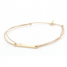 Gold platted hammered barre on a lurex Bracelet