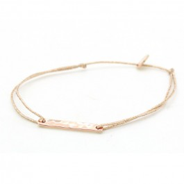 Bracelet lurex et barre martelée plaqué or rose