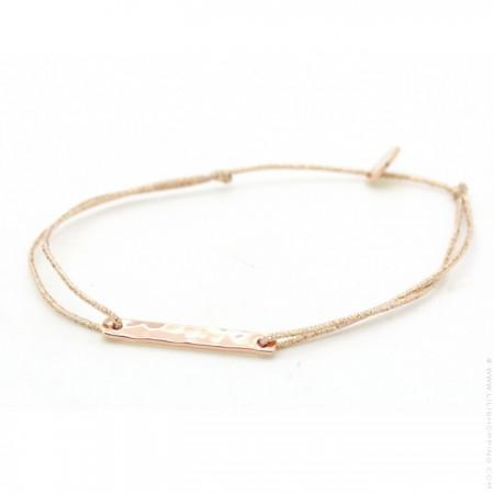 Pink gold platted hammered barre on a lurex Bracelet