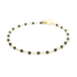 Bracelet India plaqué or et spinelles noires