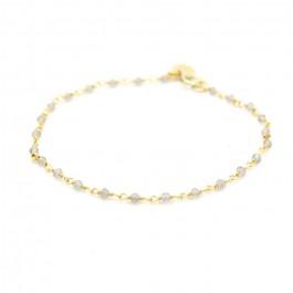 Bracelet India plaqué or et labradorites grises