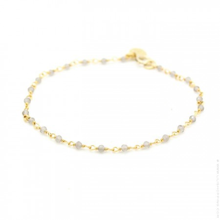 India gold plated bracelet with grey labrodites