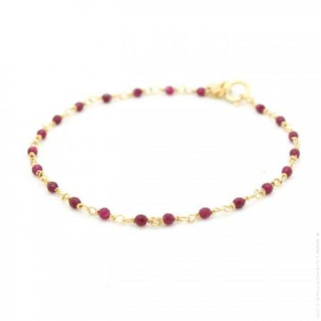 Bracelet India plaqué or et rubis pourpres
