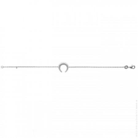 Beaded crescent moon silver bracelet