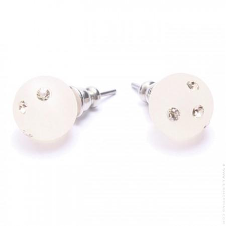 Nude strassed Zoe Bonbon resin earrings