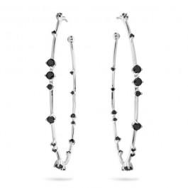Black stones Hoops silver platted earrings