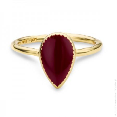 Redwine enamelled Bangaram gold Plated Ring