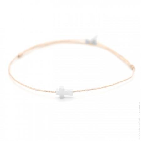 Bracelet croix en argent sur lien taupe