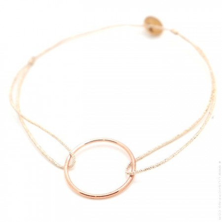 Bracelet anneau plaqué or rose sur lien lurex