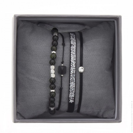 Bracelets Ultra fine rocks noir