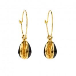 Black enamelled cauris gold platted earrings