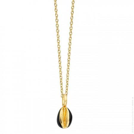 Black enamelled north star Gold platted necklace