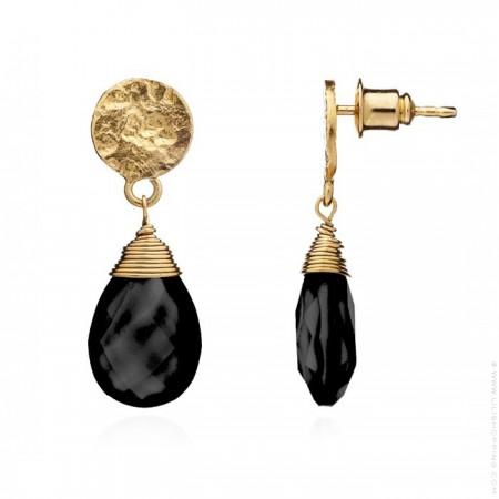 Boucles d'oreilles goutte Athena onyx