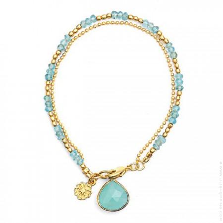 Athena aqua calchedony two-strand bracelet