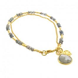 Bracelet double chaine Athena labradorite