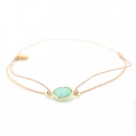 Amazonite gold plated cabochon bracelet
