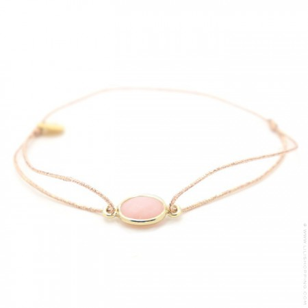 Pink opale gold plated cabochon bracelet