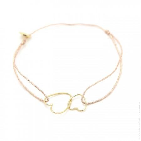 Bracelet lurex et grande croix perlée plaquée or