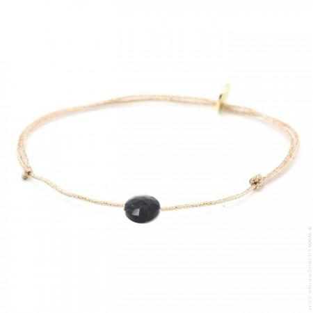 Bracelet briolette onyx sur lien lurex