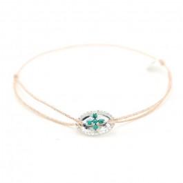 Bracelet en argent et croix turquoises vertes