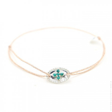 Silver bangle with green turquoise stones cross