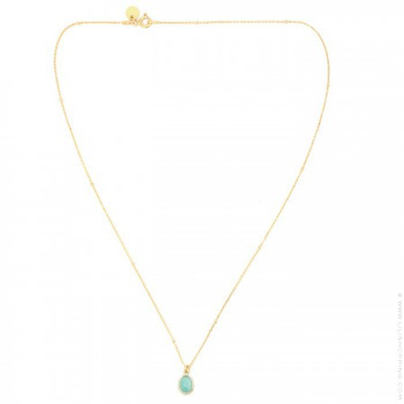 Gold plated necklace with an amazonite cabochon